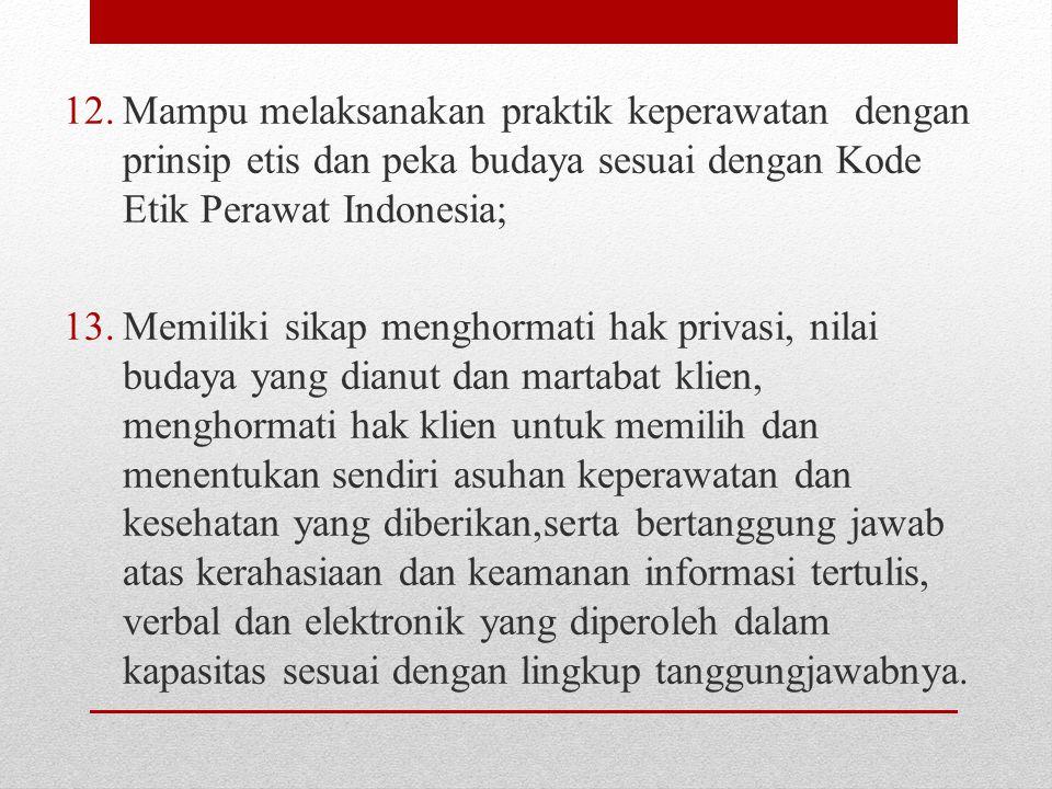 12.Mampu melaksanakan praktik keperawatan dengan prinsip etis dan peka budaya sesuai dengan Kode Etik Perawat Indonesia; 13.Memiliki sikap menghormati