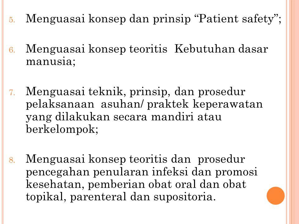 """5. Menguasai konsep dan prinsip """"Patient safety""""; 6. Menguasai konsep teoritis Kebutuhan dasar manusia; 7. Menguasai teknik, prinsip, dan prosedur pel"""