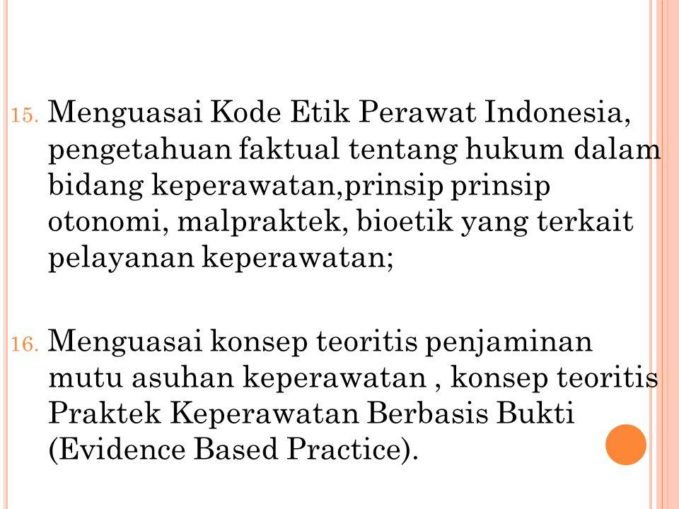 15. Menguasai Kode Etik Perawat Indonesia, pengetahuan faktual tentang hukum dalam bidang keperawatan,prinsip prinsip otonomi, malpraktek, bioetik yan