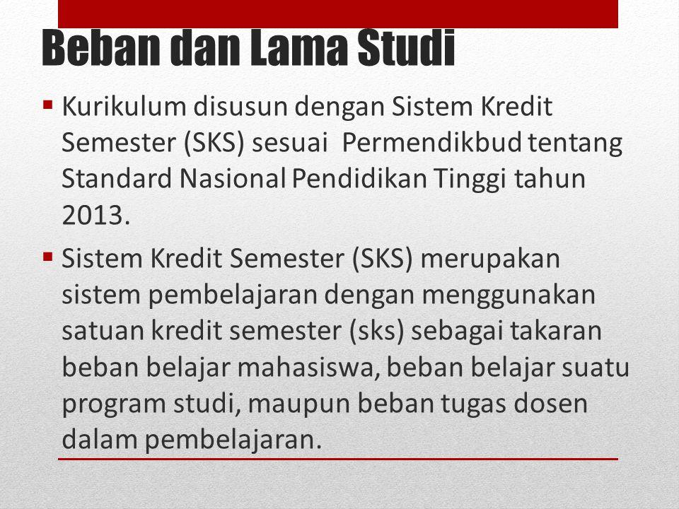 Beban dan Lama Studi  Kurikulum disusun dengan Sistem Kredit Semester (SKS) sesuai Permendikbud tentang Standard Nasional Pendidikan Tinggi tahun 201