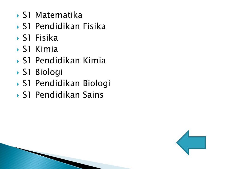  S1 Matematika  S1 Pendidikan Fisika  S1 Fisika  S1 Kimia  S1 Pendidikan Kimia  S1 Biologi  S1 Pendidikan Biologi  S1 Pendidikan Sains