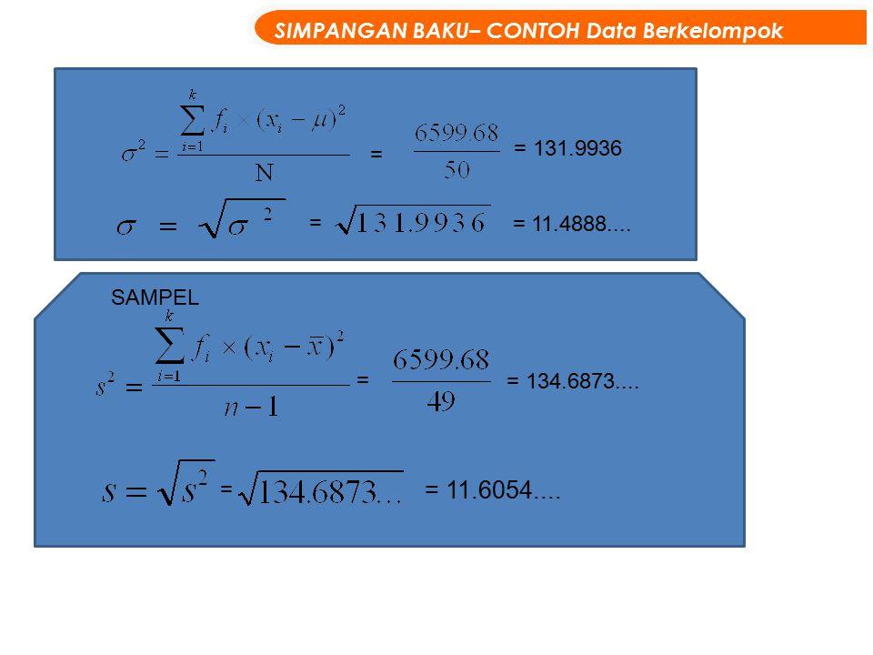 = = 131.9936 = = 11.4888.... = = 134.6873.... = = 11.6054.... SIMPANGAN BAKU– CONTOH Data Berkelompok SAMPEL