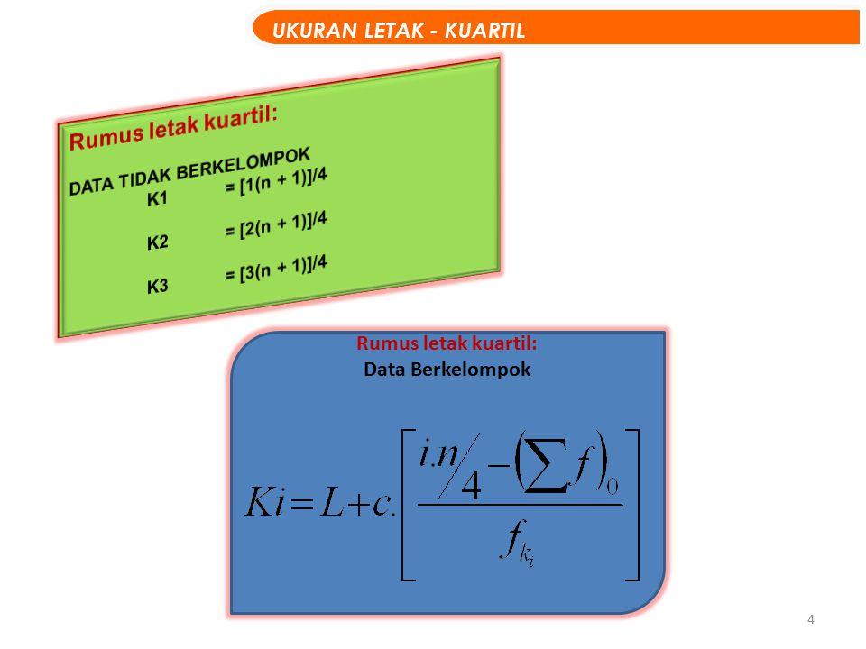5 Data penjualan komputer selama 7 bulan terakhir: Data: 2433657 (N = 7) CONTOH : solusi Setelah diurut : 2334567 K1 = 1(7 + 1)/4 = 8/4 = 2  data urutan kedua, jadi K1 = 3 K2 = 2(7 + 1)/4 = 16/4 = 4  data urutan keempat, jadi K2 = 4 K3 = 3(7 + 1) /4 = 24/4 = 6  data urutan keenam, jadi K3 = 6 UKURAN LETAK – CONTOH KUARTIL Data TunggaL