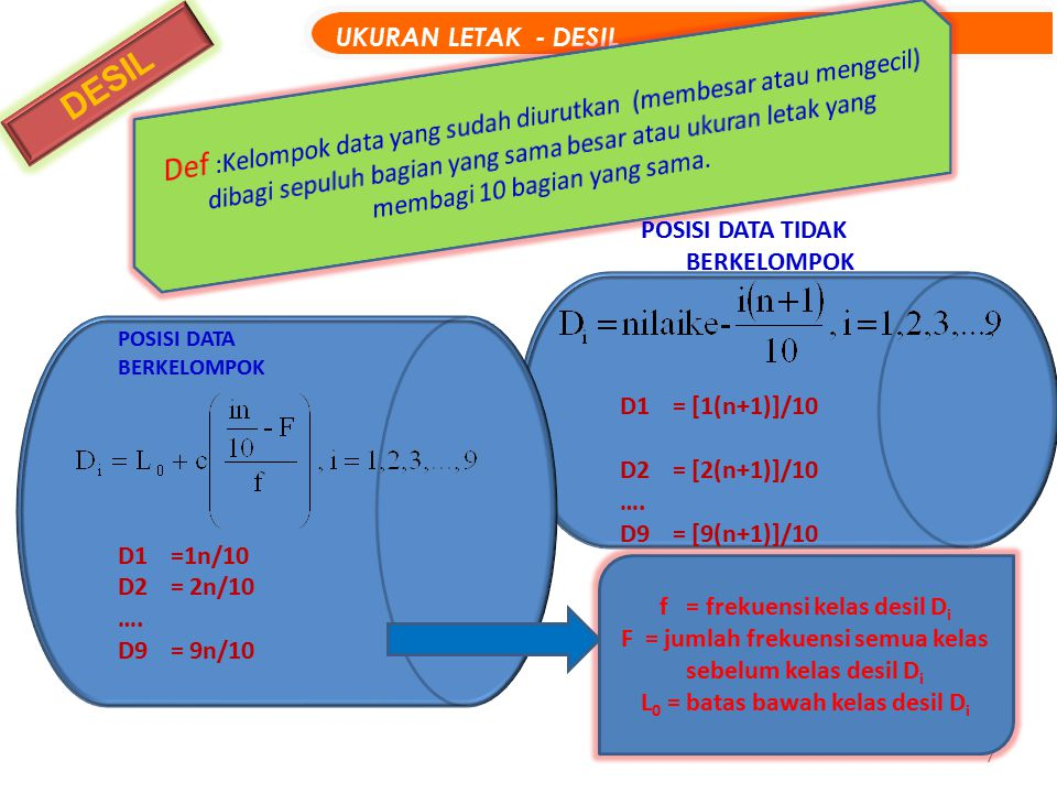 7 DESIL UKURAN LETAK - DESIL POSISI DATA TIDAK BERKELOMPOK D1= [1(n+1)]/10 D2= [2(n+1)]/10 …. D9= [9(n+1)]/10 POSISI DATA BERKELOMPOK D1=1n/10 D2= 2n/
