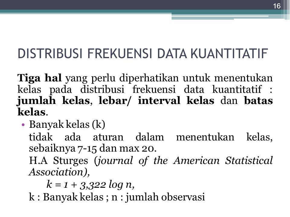 DISTRIBUSI FREKUENSI DATA KUANTITATIF Tiga hal yang perlu diperhatikan untuk menentukan kelas pada distribusi frekuensi data kuantitatif : jumlah kela