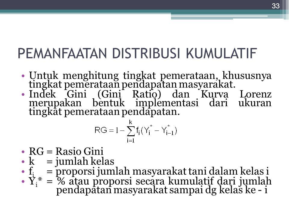 PEMANFAATAN DISTRIBUSI KUMULATIF Untuk menghitung tingkat pemerataan, khususnya tingkat pemerataan pendapatan masyarakat. Indek Gini (Gini Ratio) dan