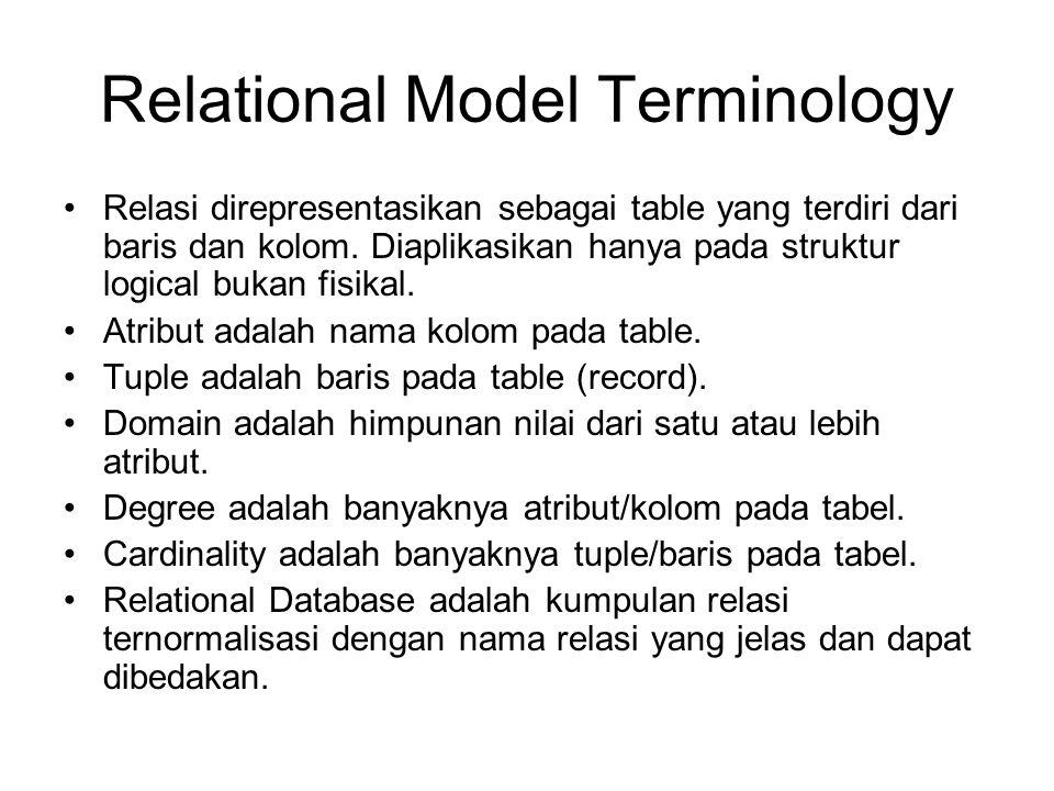 Relational Model Terminology Relasi direpresentasikan sebagai table yang terdiri dari baris dan kolom. Diaplikasikan hanya pada struktur logical bukan