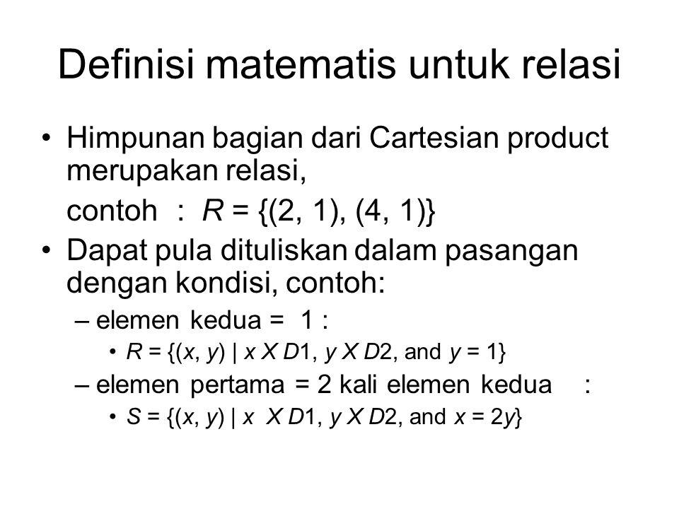 Definisi matematis untuk relasi Himpunan bagian dari Cartesian product merupakan relasi, contoh: R = {(2, 1), (4, 1)} Dapat pula dituliskan dalam pasa