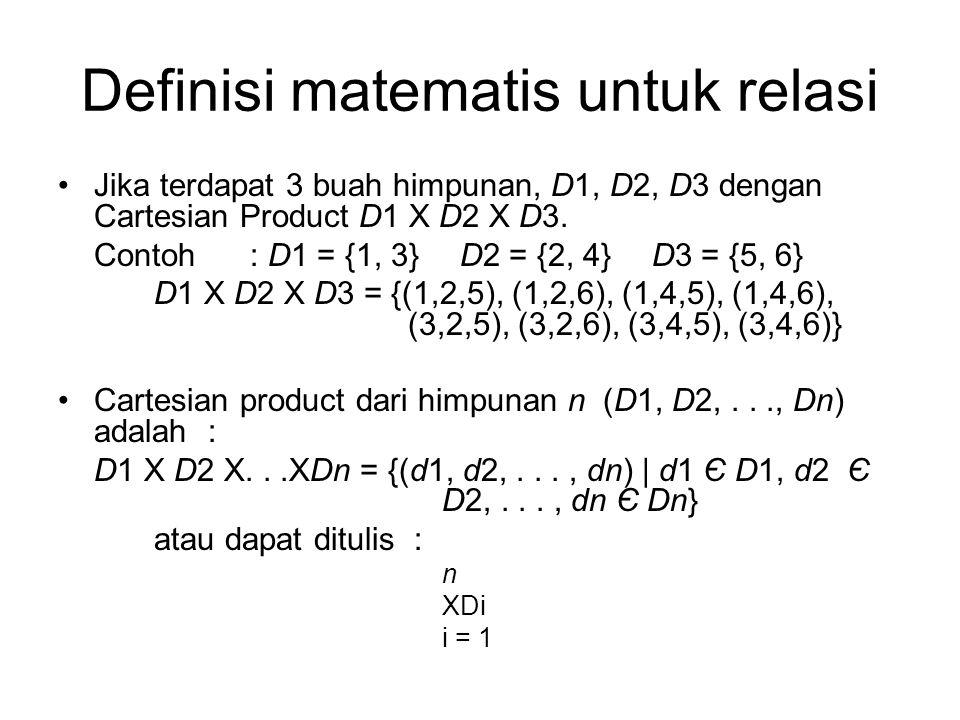 Definisi matematis untuk relasi Jika terdapat 3 buah himpunan, D1, D2, D3 dengan Cartesian Product D1 X D2 X D3. Contoh: D1 = {1, 3} D2 = {2, 4} D3 =