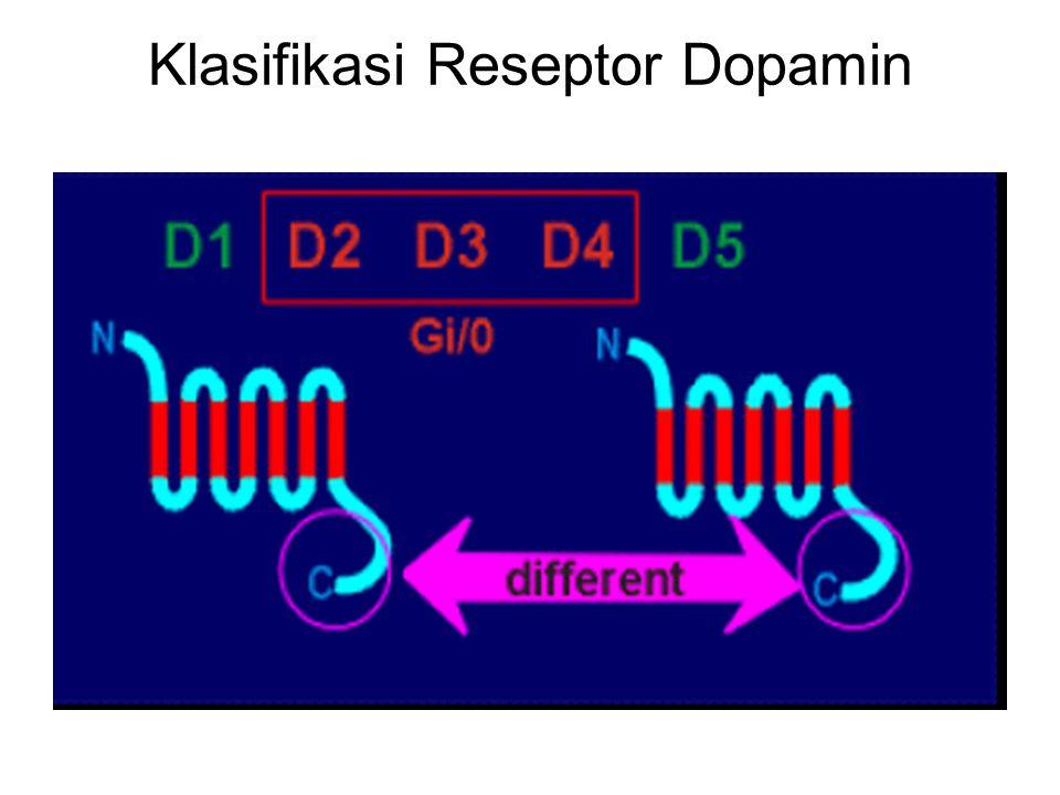 Berdasarkan signal transduksinya, reseptor Dopamin digolongkan menjadi 2 family yaitu : D1 family dan D2 family Selanjutnya masing-masing terbagi lagi menjadi beberapa subtipe: D1 family terdiri dari : D1 dan D5 terikat dgn Gs D2 family terdiri dari : D2, D3, D4 terikat dgn Gi