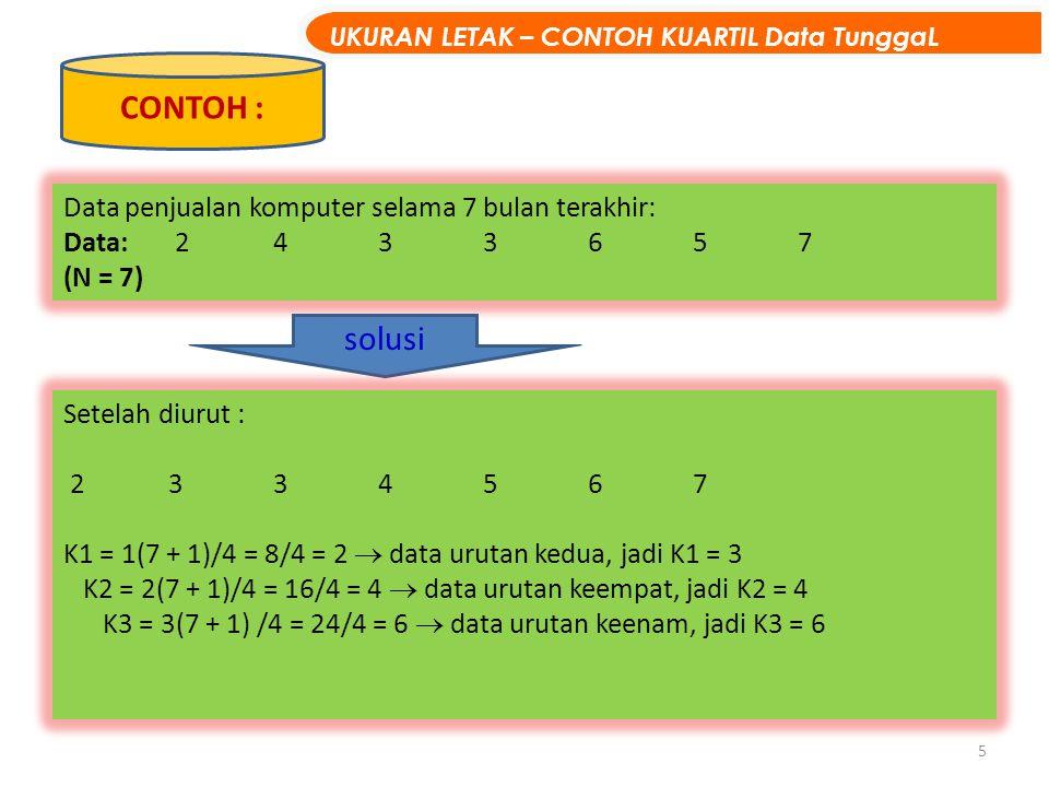 5 Data penjualan komputer selama 7 bulan terakhir: Data: 2433657 (N = 7) CONTOH : solusi Setelah diurut : 2334567 K1 = 1(7 + 1)/4 = 8/4 = 2  data uru