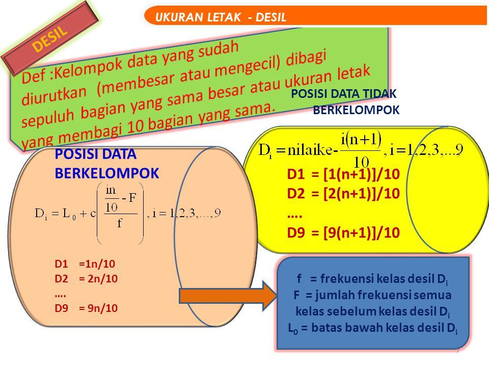 8 GRAFIK LETAK DESIL UKURAN LETAK - Grafik DESIL D1 D2D3D4D5 D6D7 D8D9 D1 sebesar 10% ; D2 sebesar 20% ; D3 sebesar 30% ; D4 sebesar 40% ; D5 sampai 50% ;…; D9 sebesar 90%