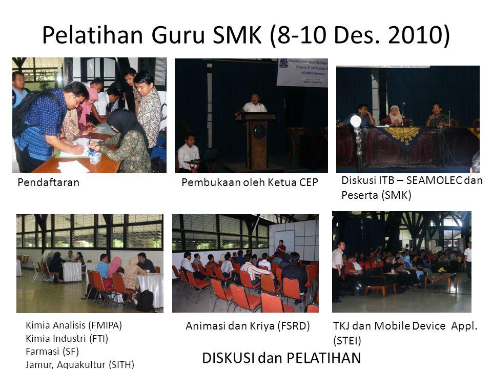 Pelatihan Guru SMK (8-10 Des. 2010) PendaftaranPembukaan oleh Ketua CEP Diskusi ITB – SEAMOLEC dan Peserta (SMK) DISKUSI dan PELATIHAN Kimia Analisis