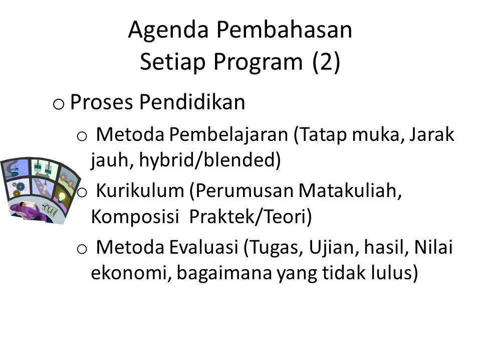 Agenda Pembahasan Setiap Program (2) o Proses Pendidikan o Metoda Pembelajaran (Tatap muka, Jarak jauh, hybrid/blended) o Kurikulum (Perumusan Matakul