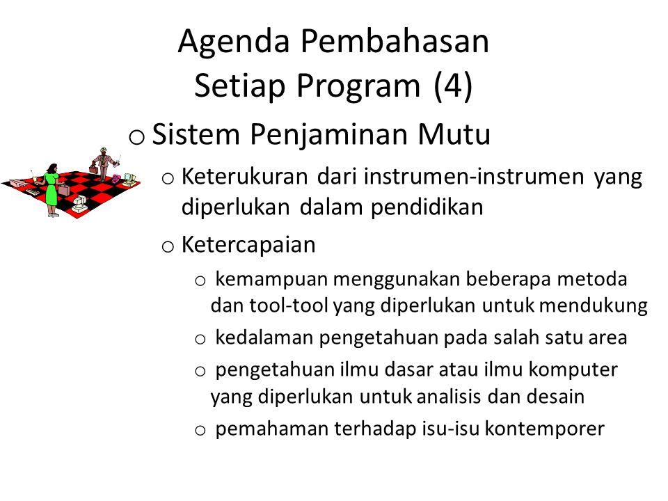 Agenda Pembahasan Setiap Program (4) o Sistem Penjaminan Mutu o Keterukuran dari instrumen-instrumen yang diperlukan dalam pendidikan o Ketercapaian o