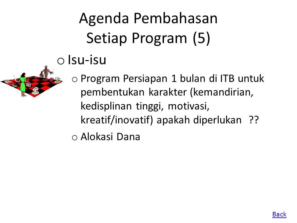 Agenda Pembahasan Setiap Program (5) o Isu-isu o Program Persiapan 1 bulan di ITB untuk pembentukan karakter (kemandirian, kedisplinan tinggi, motivas