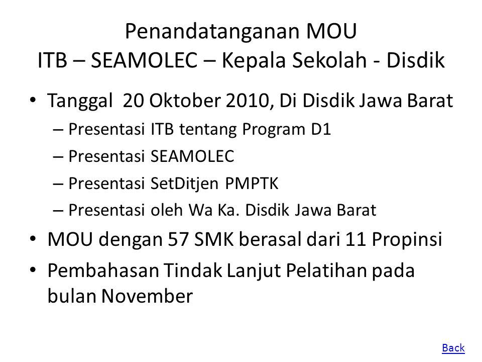 Penandatanganan MOU ITB – SEAMOLEC – Kepala Sekolah - Disdik Tanggal 20 Oktober 2010, Di Disdik Jawa Barat – Presentasi ITB tentang Program D1 – Prese