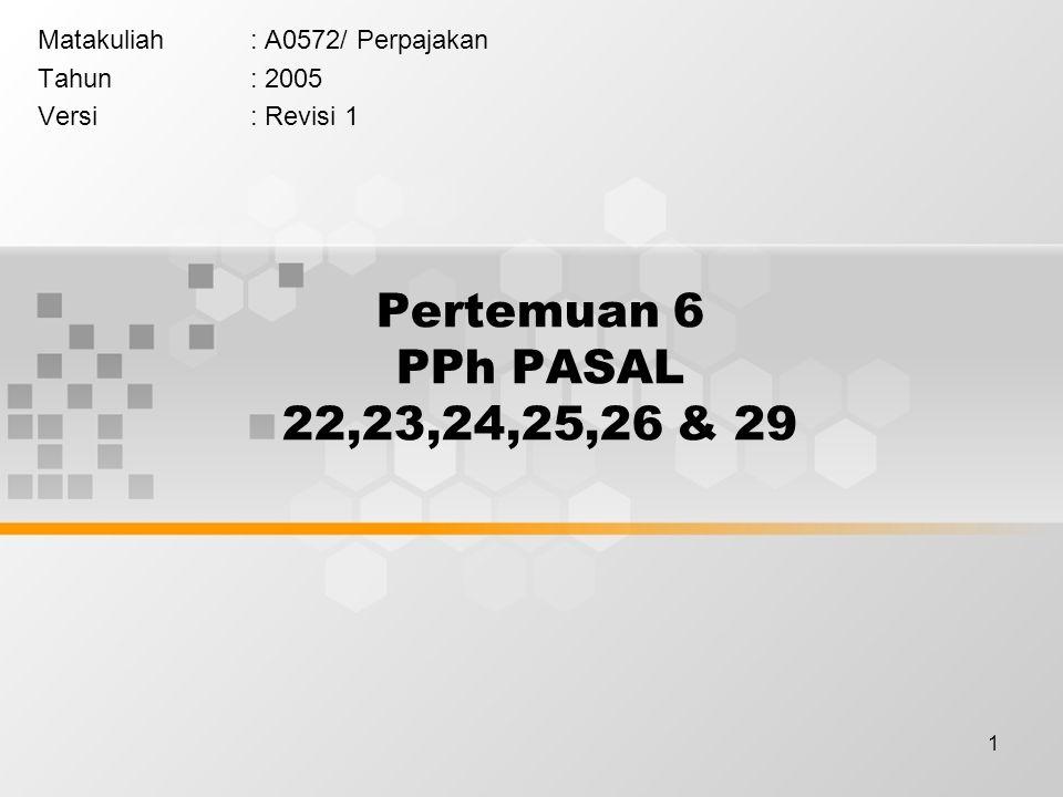 22 PPh PASAL 25 Angsuran pajak yang dibayar sendiri oleh WP setiap bulan, dikurangi PPh yang telah di bayar sesuai ps.