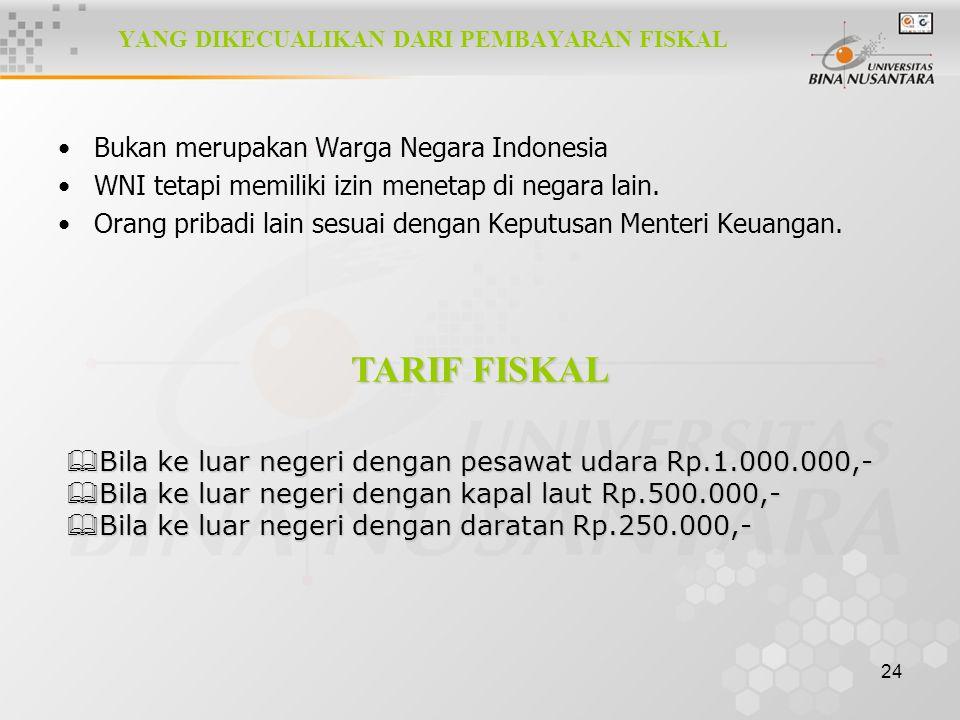 24 YANG DIKECUALIKAN DARI PEMBAYARAN FISKAL Bukan merupakan Warga Negara Indonesia WNI tetapi memiliki izin menetap di negara lain. Orang pribadi lain