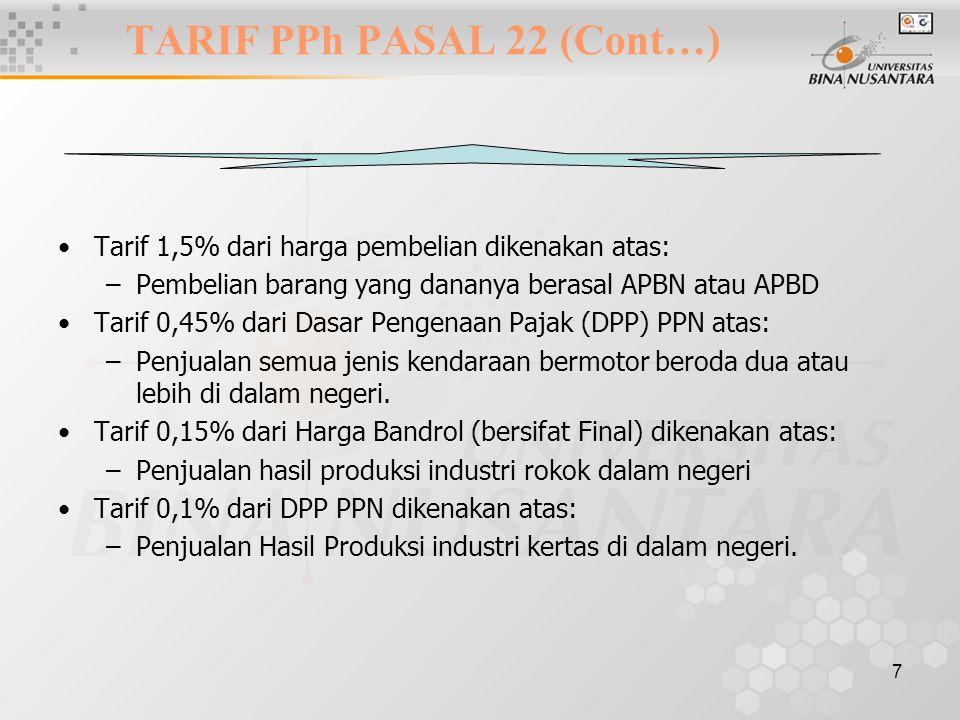 7 Tarif 1,5% dari harga pembelian dikenakan atas: –Pembelian barang yang dananya berasal APBN atau APBD Tarif 0,45% dari Dasar Pengenaan Pajak (DPP) P