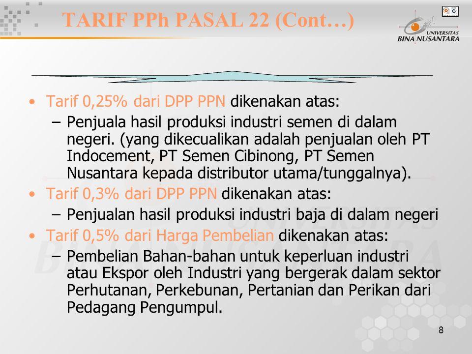 8 Tarif 0,25% dari DPP PPN dikenakan atas: –Penjuala hasil produksi industri semen di dalam negeri. (yang dikecualikan adalah penjualan oleh PT Indoce