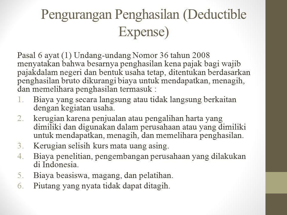 Pasal 9 ayat (1) UU Nomor 36 tahun 2008 : 1.