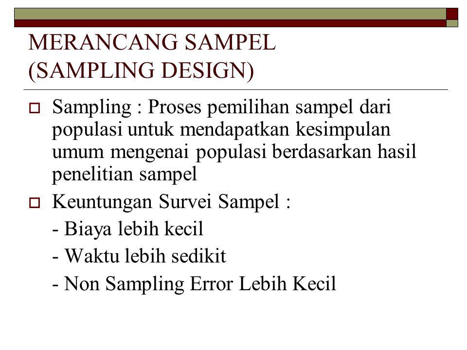 MERANCANG SAMPEL (SAMPLING DESIGN)  Sampling : Proses pemilihan sampel dari populasi untuk mendapatkan kesimpulan umum mengenai populasi berdasarkan hasil penelitian sampel  Keuntungan Survei Sampel : - Biaya lebih kecil - Waktu lebih sedikit - Non Sampling Error Lebih Kecil