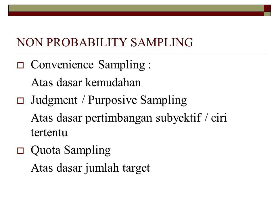 NON PROBABILITY SAMPLING  Convenience Sampling : Atas dasar kemudahan  Judgment / Purposive Sampling Atas dasar pertimbangan subyektif / ciri tertentu  Quota Sampling Atas dasar jumlah target