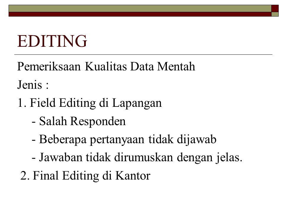 EDITING Pemeriksaan Kualitas Data Mentah Jenis : 1.
