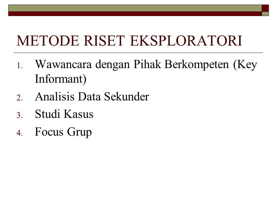 METODE RISET EKSPLORATORI 1.Wawancara dengan Pihak Berkompeten (Key Informant) 2.