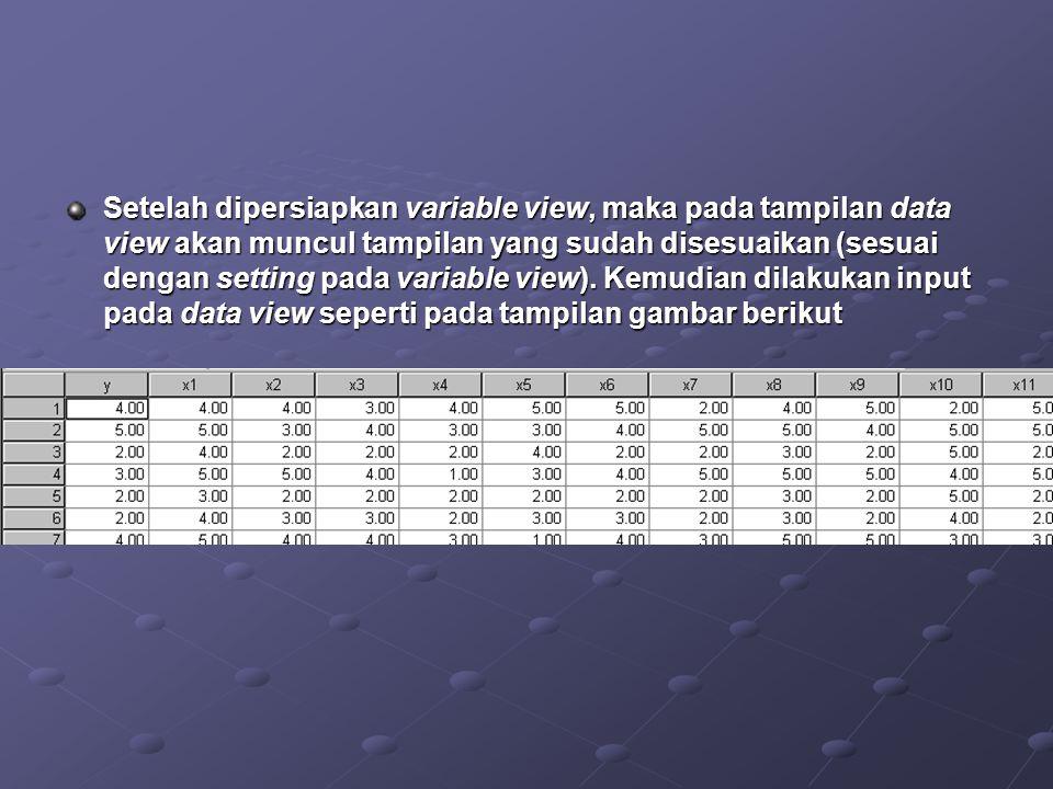 Setelah dipersiapkan variable view, maka pada tampilan data view akan muncul tampilan yang sudah disesuaikan (sesuai dengan setting pada variable view