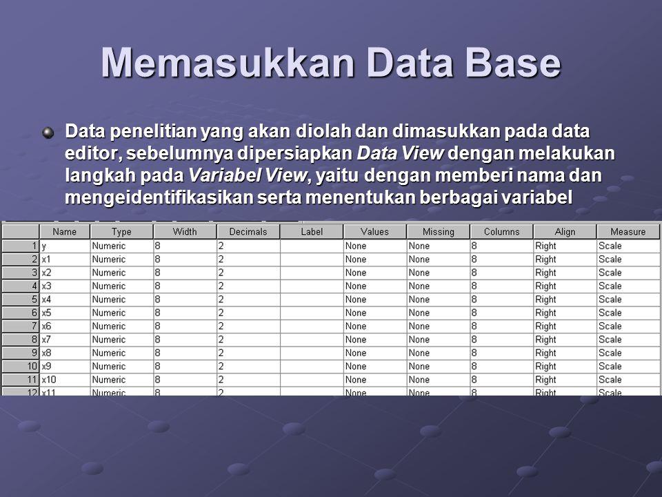 Memasukkan Data Base Data penelitian yang akan diolah dan dimasukkan pada data editor, sebelumnya dipersiapkan Data View dengan melakukan langkah pada Variabel View, yaitu dengan memberi nama dan mengeidentifikasikan serta menentukan berbagai variabel