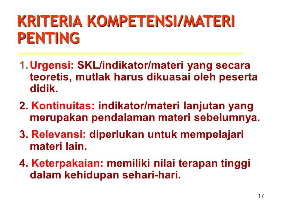 17 1.Urgensi: SKL/indikator/materi yang secara teoretis, mutlak harus dikuasai oleh peserta didik. 2. Kontinuitas: indikator/materi lanjutan yang meru
