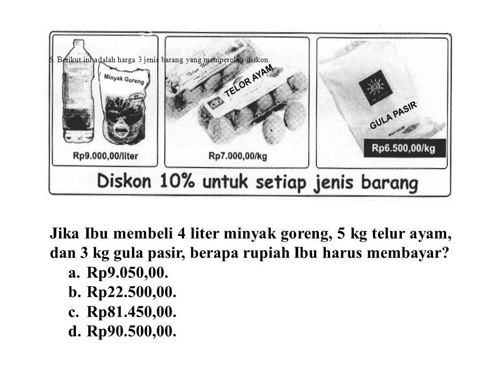 6.Berikut ini adalah harga 3 jenis barang yang memperoleh diskon.