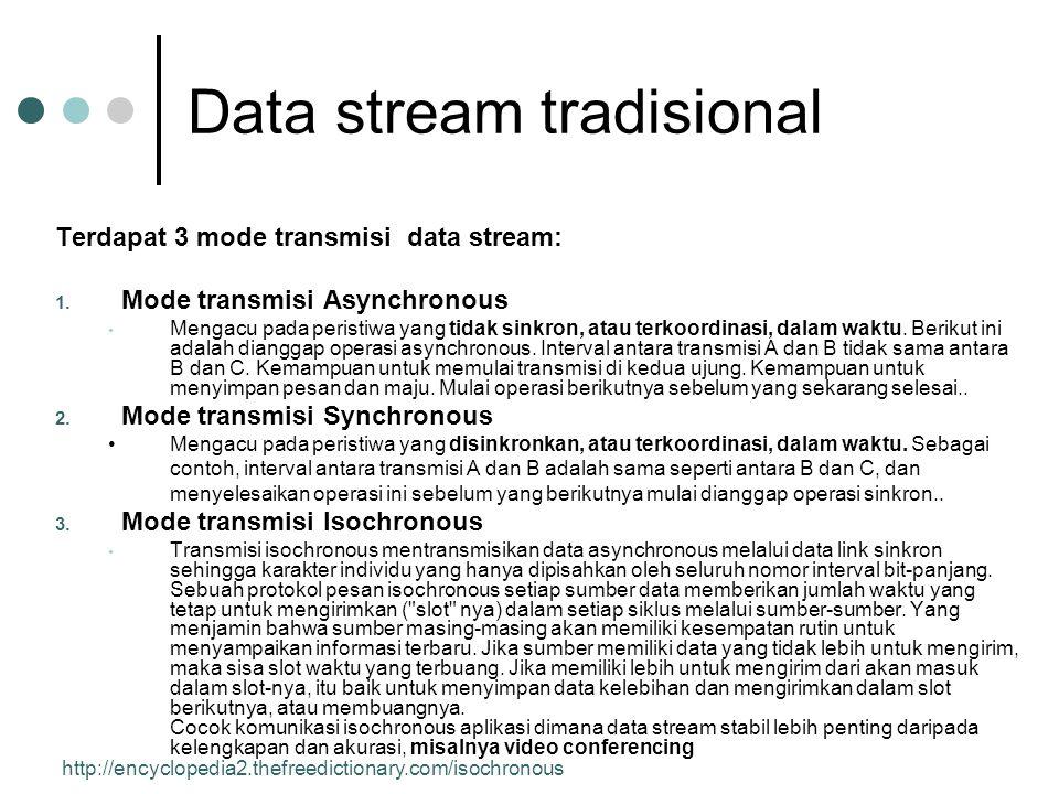 Data stream tradisional Terdapat 3 mode transmisi data stream: 1. Mode transmisi Asynchronous Mengacu pada peristiwa yang tidak sinkron, atau terkoord