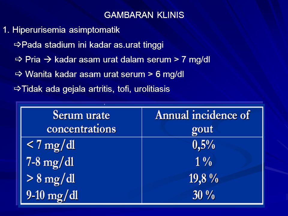 GAMBARAN KLINIS 1. Hiperurisemia asimptomatik  Pada stadium ini kadar as.urat tinggi  Pria  kadar asam urat dalam serum > 7 mg/dl  Wanita kadar as