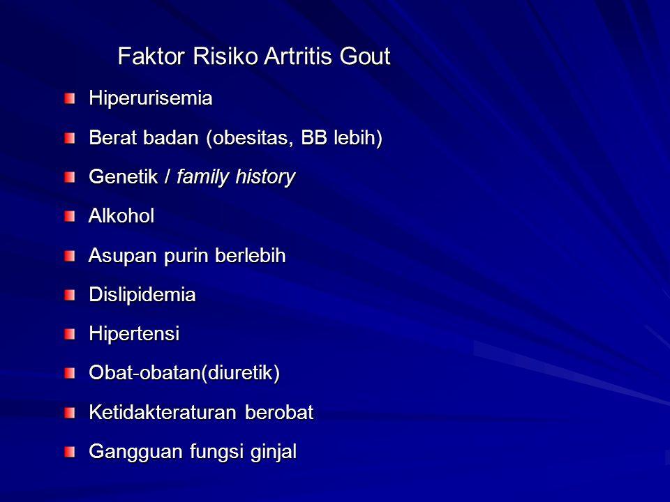 Faktor Risiko Artritis Gout Faktor Risiko Artritis GoutHiperurisemia Berat badan (obesitas, BB lebih) Genetik / family history Alkohol Asupan purin be