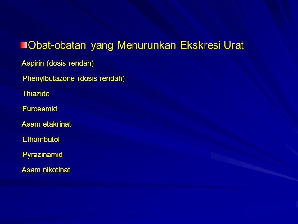 Obat-obatan yang Menurunkan Ekskresi Urat Aspirin (dosis rendah) Phenylbutazone (dosis rendah) Thiazide Furosemid Asam etakrinat Ethambutol Pyrazinami