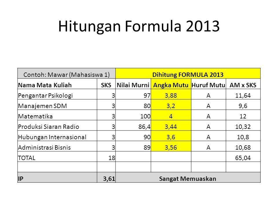 Hitungan Formula 2013 Contoh: Mawar (Mahasiswa 1)Dihitung FORMULA 2013 Nama Mata KuliahSKSNilai MurniAngka MutuHuruf MutuAM x SKS Pengantar Psikologi3