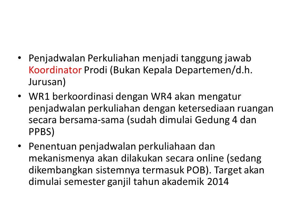Penjadwalan Perkuliahan menjadi tanggung jawab Koordinator Prodi (Bukan Kepala Departemen/d.h. Jurusan) WR1 berkoordinasi dengan WR4 akan mengatur pen