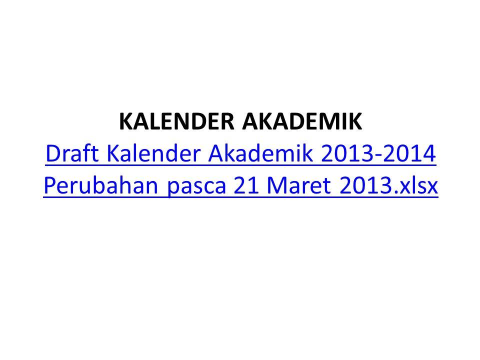 KALENDER AKADEMIK Draft Kalender Akademik 2013-2014 Perubahan pasca 21 Maret 2013.xlsx Draft Kalender Akademik 2013-2014 Perubahan pasca 21 Maret 2013