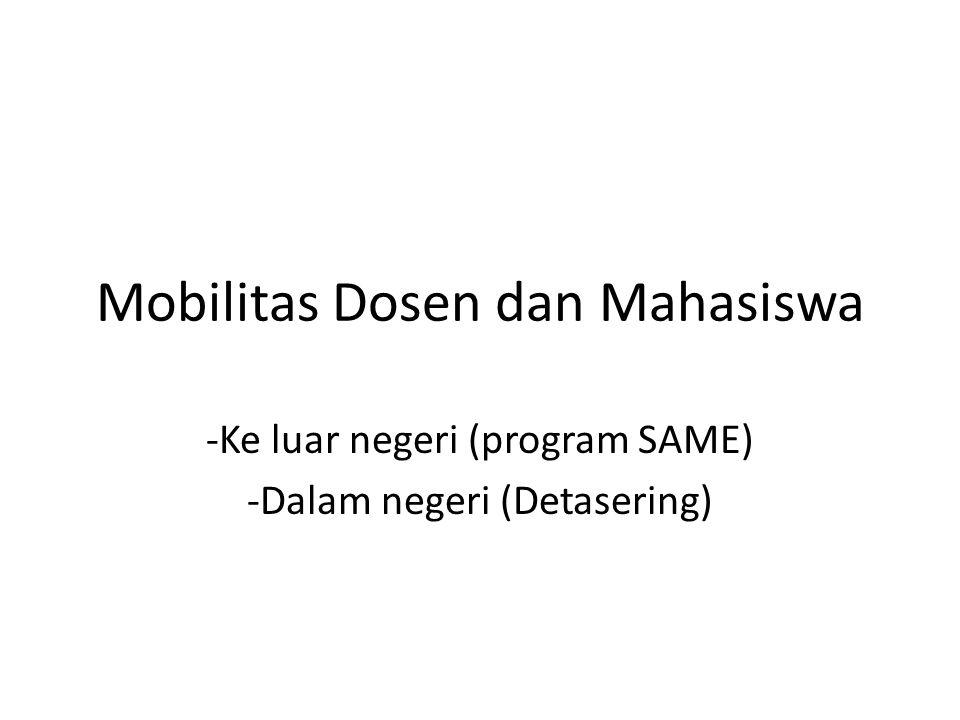 Mobilitas Dosen dan Mahasiswa -Ke luar negeri (program SAME) -Dalam negeri (Detasering)