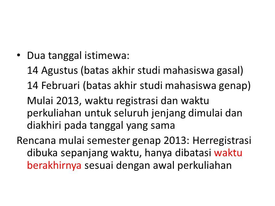 Dua tanggal istimewa: 14 Agustus (batas akhir studi mahasiswa gasal) 14 Februari (batas akhir studi mahasiswa genap) Mulai 2013, waktu registrasi dan
