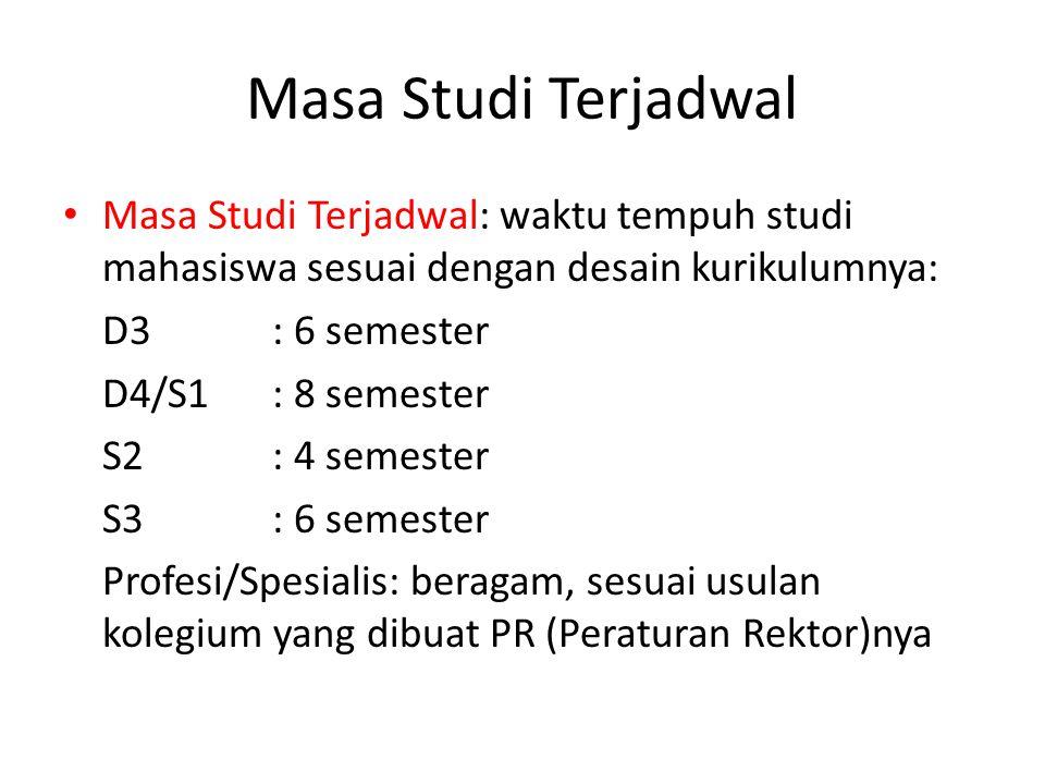 Masa Studi Terjadwal Masa Studi Terjadwal: waktu tempuh studi mahasiswa sesuai dengan desain kurikulumnya: D3: 6 semester D4/S1: 8 semester S2: 4 seme