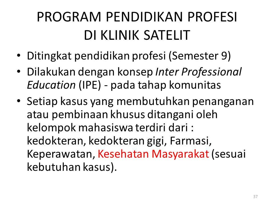 PROGRAM PENDIDIKAN PROFESI DI KLINIK SATELIT Ditingkat pendidikan profesi (Semester 9) Dilakukan dengan konsep Inter Professional Education (IPE) - pa