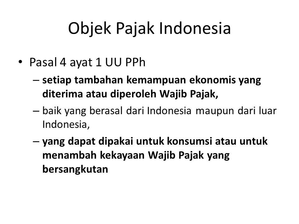 Objek Pajak Indonesia Pasal 4 ayat 1 UU PPh – setiap tambahan kemampuan ekonomis yang diterima atau diperoleh Wajib Pajak, – baik yang berasal dari In