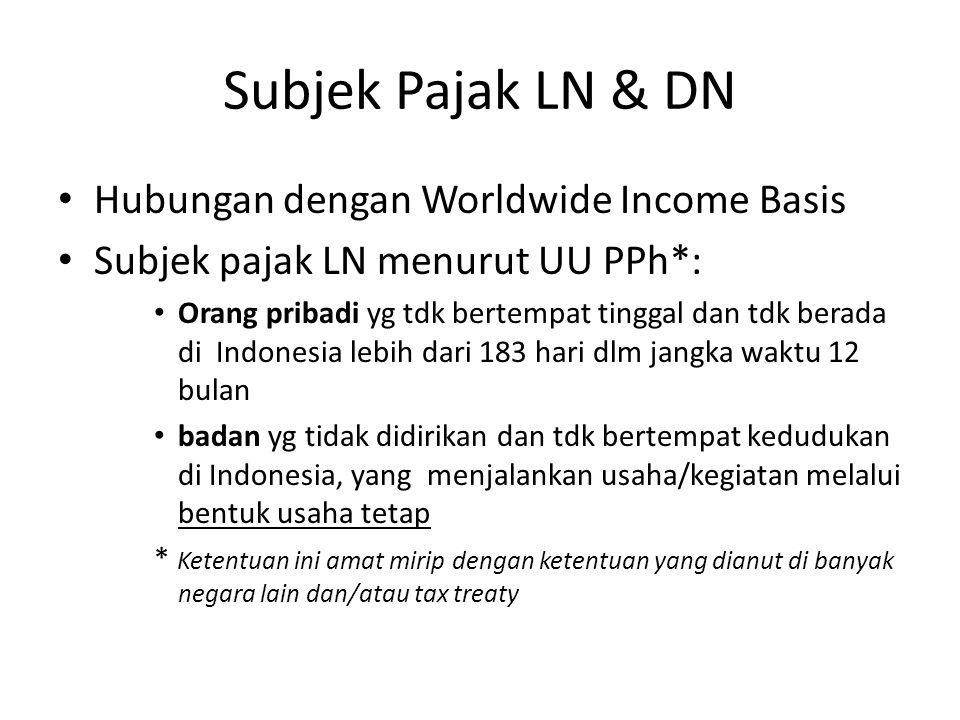 Subjek Pajak LN & DN Hubungan dengan Worldwide Income Basis Subjek pajak LN menurut UU PPh*: Orang pribadi yg tdk bertempat tinggal dan tdk berada di