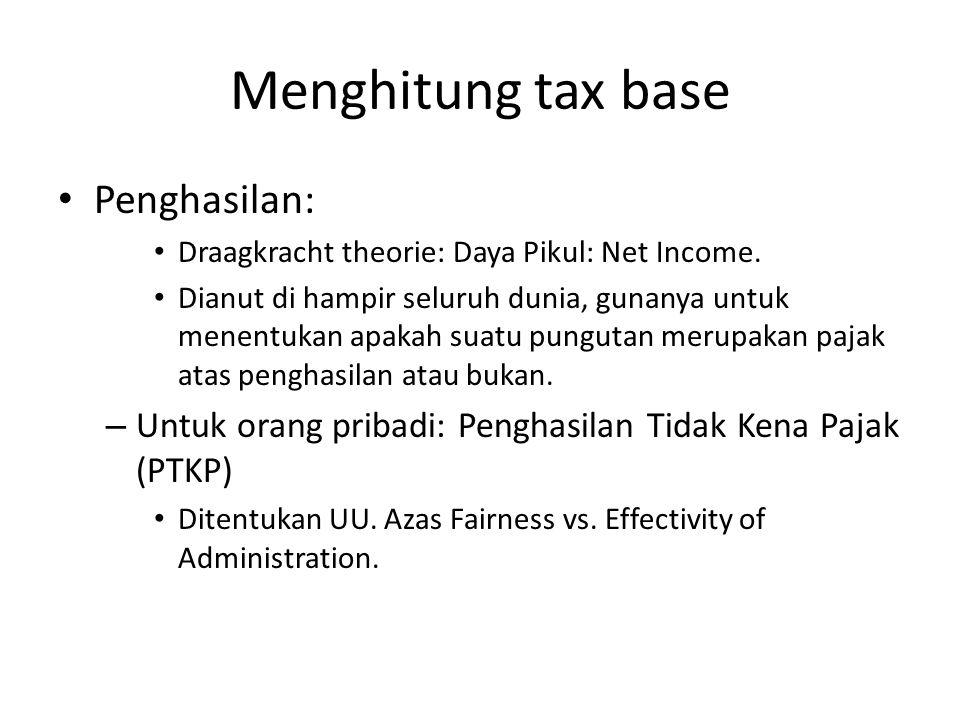Menghitung tax base Penghasilan: Draagkracht theorie: Daya Pikul: Net Income. Dianut di hampir seluruh dunia, gunanya untuk menentukan apakah suatu pu