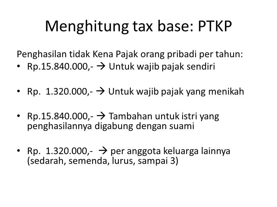 Menghitung tax base: PTKP Penghasilan tidak Kena Pajak orang pribadi per tahun: Rp.15.840.000,-  Untuk wajib pajak sendiri Rp. 1.320.000,-  Untuk wa