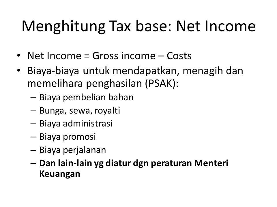 Menghitung Tax base: Net Income Net Income = Gross income – Costs Biaya-biaya untuk mendapatkan, menagih dan memelihara penghasilan (PSAK): – Biaya pembelian bahan – Bunga, sewa, royalti – Biaya administrasi – Biaya promosi – Biaya perjalanan – Dan lain-lain yg diatur dgn peraturan Menteri Keuangan